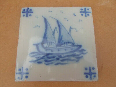 Antique Hand Painted Dutch Delft Tile with Sailing Ship Design