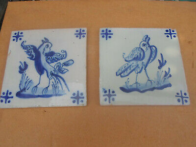 Antique Hand Painted Dutch Delft Tile x 2 with Bird Design