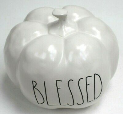"Rae Dunn ""BLESSED"" Medium White Ceramic Pumpkin New 2019"