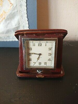 VINTAGE 1920s 30s 8 DAY TRAVEL CLOCK IN LEATHER CASE