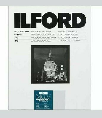 New Ilford Photographic Paper 8x10 Multigrade IV RC Deluxe Glossy 100 Sheets