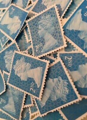 100 x 2nd CLASS STAMPS BLUE SECURITY UNFRANKED OFF PAPER NO GUM. CHEAPEST PRICE