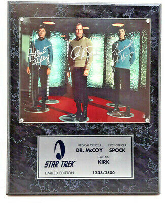Kelley, Shatner, Nimoy/McCoy, Kirk, Spock Star Trek Autographed Photo Plaque-QVC