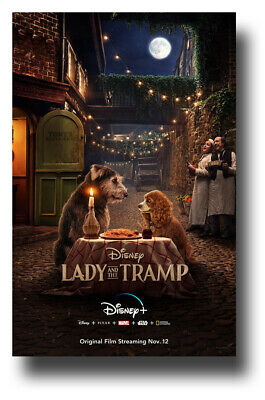 """Lady and The Tramp Poster 11""""x17"""" 2019 Animated Sitting SameDay Ship from USA"""