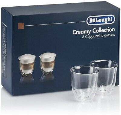 Delonghi Set 6 Cups Thermal Glasses Cappuccino Double Wall Glass 190ml