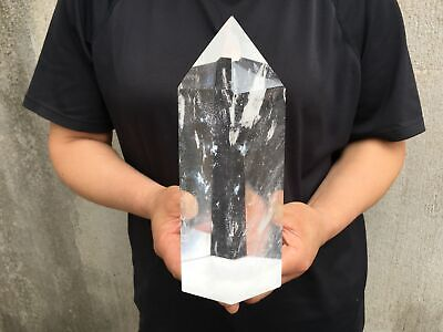 "4.2LB Large Clear Melting Quartz Obelisk Healing Crystal Wand Point 8.2""Tall B04"