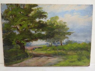 antique old PAINTING small oil LANDSCAPE