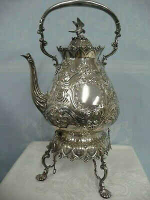 ANTIQUE ORNATE SILVER PLATE HOT WATER KETTLE ON STAND w/BURNER, TILTS TO POUR