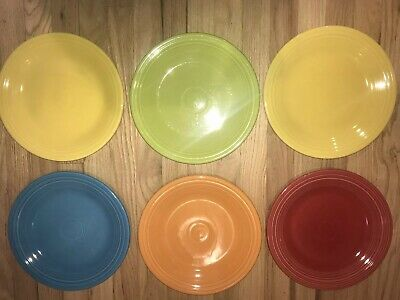 Fiestaware mixed colors Dinner Plate Lot of 6 Fiesta 10.5 inch plates VGUC