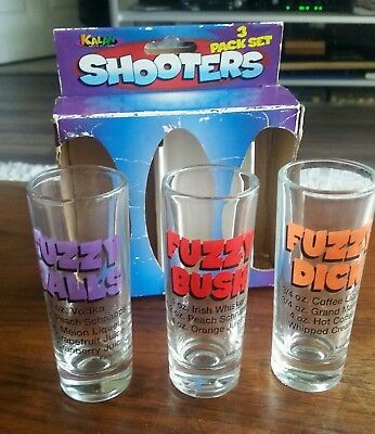 Set of 3 Shooters Shot Glasses Naughty Mixed Drink Recipes Fuzzy Privates in Box