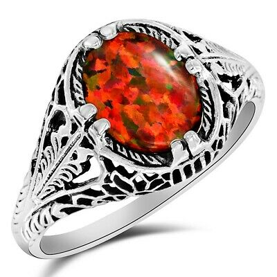 2CT Natural Red Fire Opal 925 Sterling Silver Art Deco Ring Jewelry Sz 9 FL16