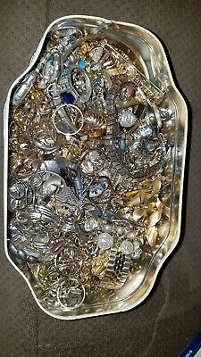 Vintage Lot  Estate And Costume Jewelry  And nice  Tin , Junk drawer  lot