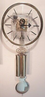Vintage Howard Miller Lucidity 622-683 Brass & Acrylic Weight Driven Wall Clock