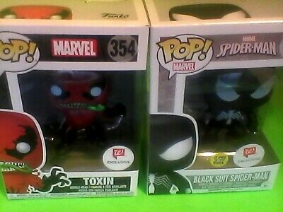 funko pop 2-lot marvel exclusive toxin+black suit spider-man glows in the dark