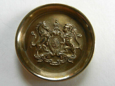 Horse and Lion Royal Seal Large Antique Vintage Brass Metal Livery Button