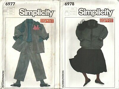 LOT OF 2 SIMPLICITY MISSES' SZ 6-8 Esprit OVERSIZED JACKET, SKIRT, PANTS PATTERN