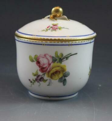 19C French Sevres Porcelain Round Covered Dresser Box Hand Painted Flowers
