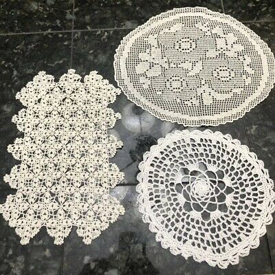 Lot Of 3 Vintage Hand Crochet Doilies Cream Ecru Round Oval Rectangular Floral