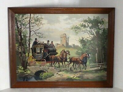 Vintage Framed Paint By Numbers Stage Coach To London