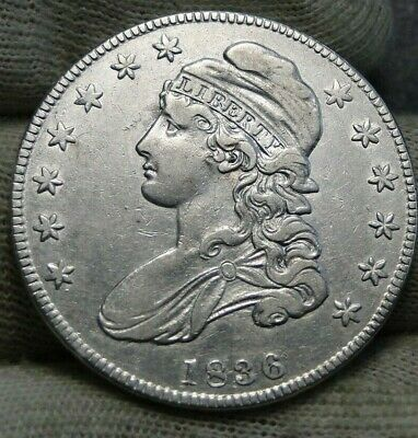 1836 Capped Bust Half Dollar 50 Cents, O-111 R3  Nice Coin Free Shipping  (8683)