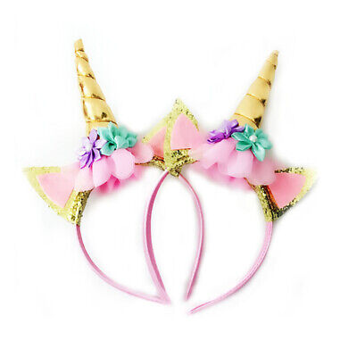 2 Pcs Unicorn Headband Glitter Horn Hair Band Flower Ears Party Cosplay HLD8