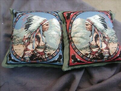 America Native Chief  Indian       One Pair Of Cushion 40  Cm / 16 Inches