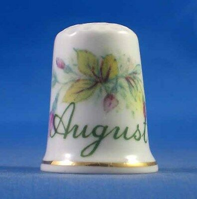 Fine Porcelain China Thimble - Flower Of The Month -- August -- Free Gift Box