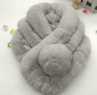 Ladies Girls Rabbit Real Fur Scarves Winter Warm Colours Sweet Scarf Outwear NEW
