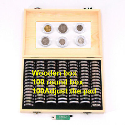 UK Wooden Coins Display Storage Box Case + 100 Round Box Slab Certified Capsules