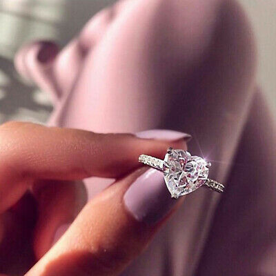 Women 925 Sterling Silver Ring Crystal Love Heart Shaped Ring Lady Gift Jewelry