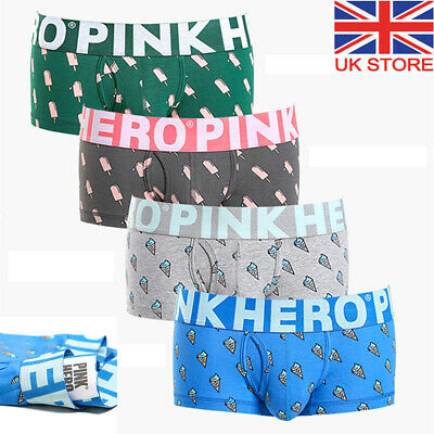 4 Pack Mens Boxer Briefs Open Fly Pouch Comfortable Stretch Cotton Shorts Trunks