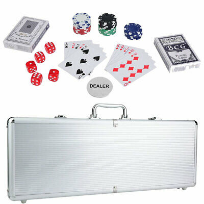 500 Chips Poker Chip Set 11.5 Gram Holdem Cards Game W/Aluminum Case & Dices New