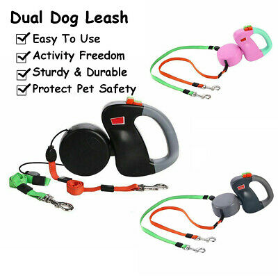 Durable&Retractable Lead Leash Double Tangle Dual Pet Walks 2 Dogs New Fashion