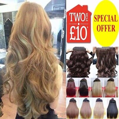 "24"" One Piece Clip In Hair Extension Pale Golden Ash Blonde Dark Light Plum Red"