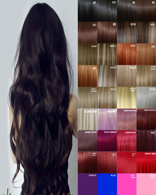 Hair Extensions Clip in real Feel Bleach Blondes Pink Blue Copper red plum ash