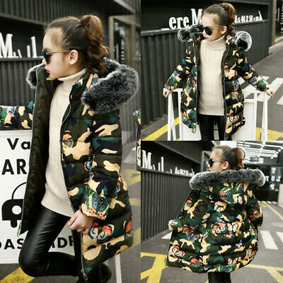 Winter girls camouflage cotton coat kids thick butterfly print hooded jacket new