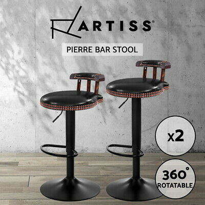 Artiss 2x Kitchen Bar Stools Vintage Bar Stool Chairs Swivel Gas Lift Leather BK