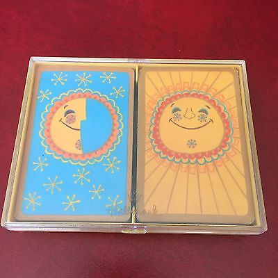 Vintage Happiness Hallmark Double Deck Playing Cards Sun Moon Stars Hippie Boho