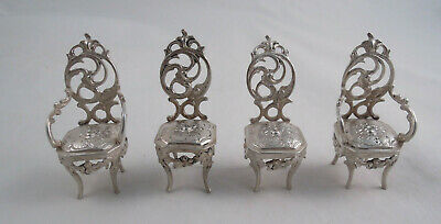 Sterling Silver Dollhouse Miniature Four Piece Chair Set Continental