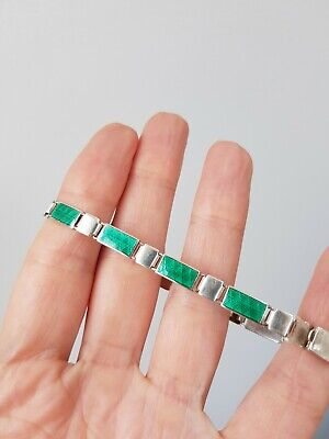32 Antique Art Deco Silver ID green guilloche enamel bracelet READ DESCRIPT