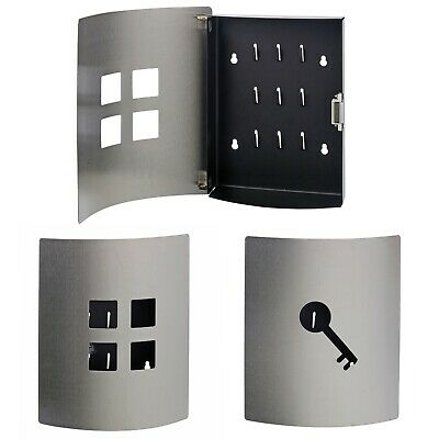 9 Hooks Stainless Steel Wall Mounted Key Box Holder Post Storage Slot Cabinet