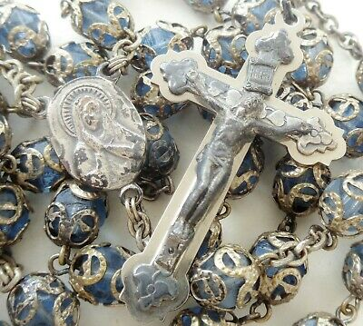 BEAUTIFUL VINTAGE BLUE CRYSTAL BEADS WITH CAPS - ROSARY with CRUCIFIX & MEDAL