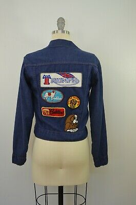 Vtg JCPenney DENIM jacket with awesome PATCHES kids/smaller adult size 1970's