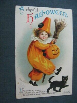 Ellen Clapsaddle Marching Cat Embossed Halloween Postcard 1916