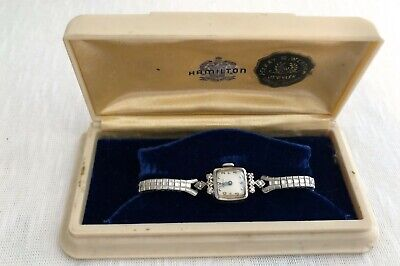Vintage Ladies HAMILTON 14K White Gold Wristwatch Watch diamonds Original Case
