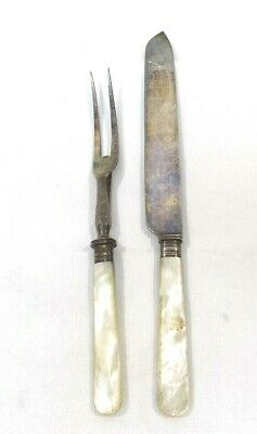 Antique Meriden Cutlery Co. 1855 Mother Of Pearl Handled Meat Fork And Knife