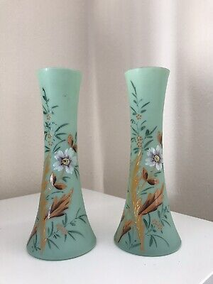 Pair Of Green Antique Opaque Glass Vases Hand Painted Flower / Leaf Detail