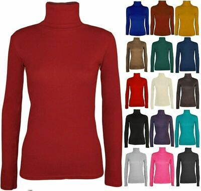 Ladies Womens  Polo Neck Roll Neck Turtle Neck Plain Jumper Top Long Sleev 8-26