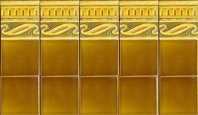 Antique Original Majolica 20 TILE Kitchen Backsplash Art Nouveau Bronze old gold