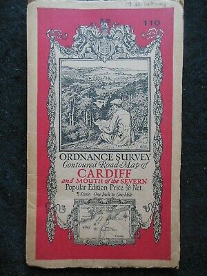 Vintage Ordnance Survey Map - Cardiff & Severn Mouth - 1919 - Sheet 110 - WALES